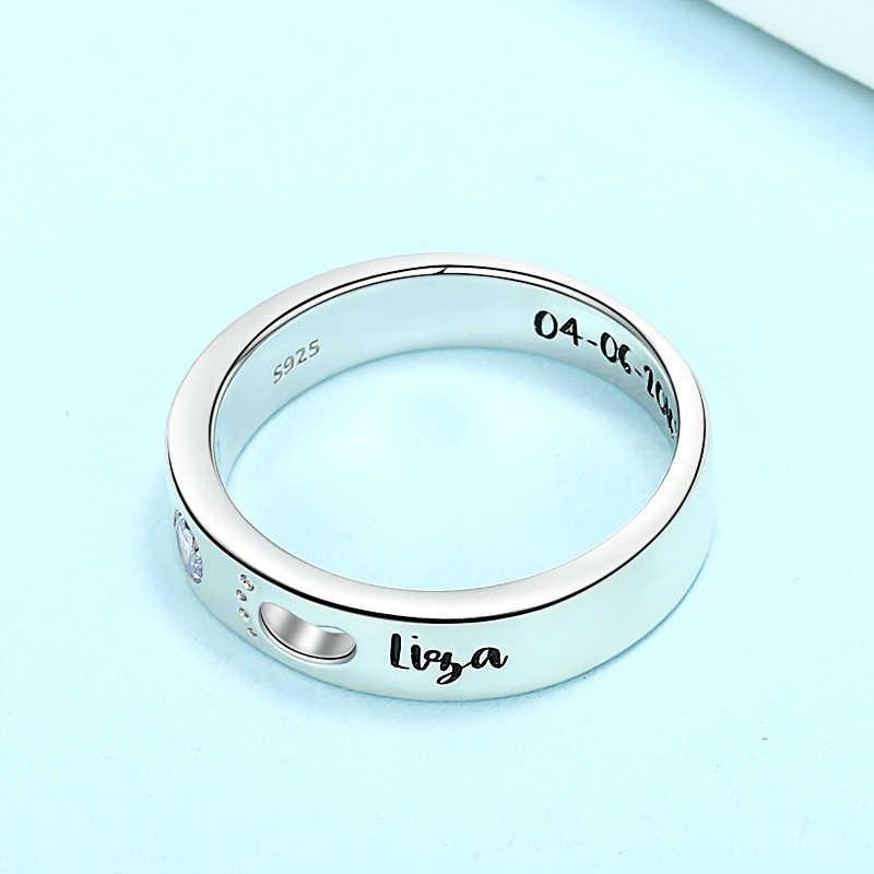 StrollGirl 925 srebro niestandardowe birthstone grawerowane nazwa pierścienie Baby footprints finger rings dla kobiet spersonalizowana biżuteria