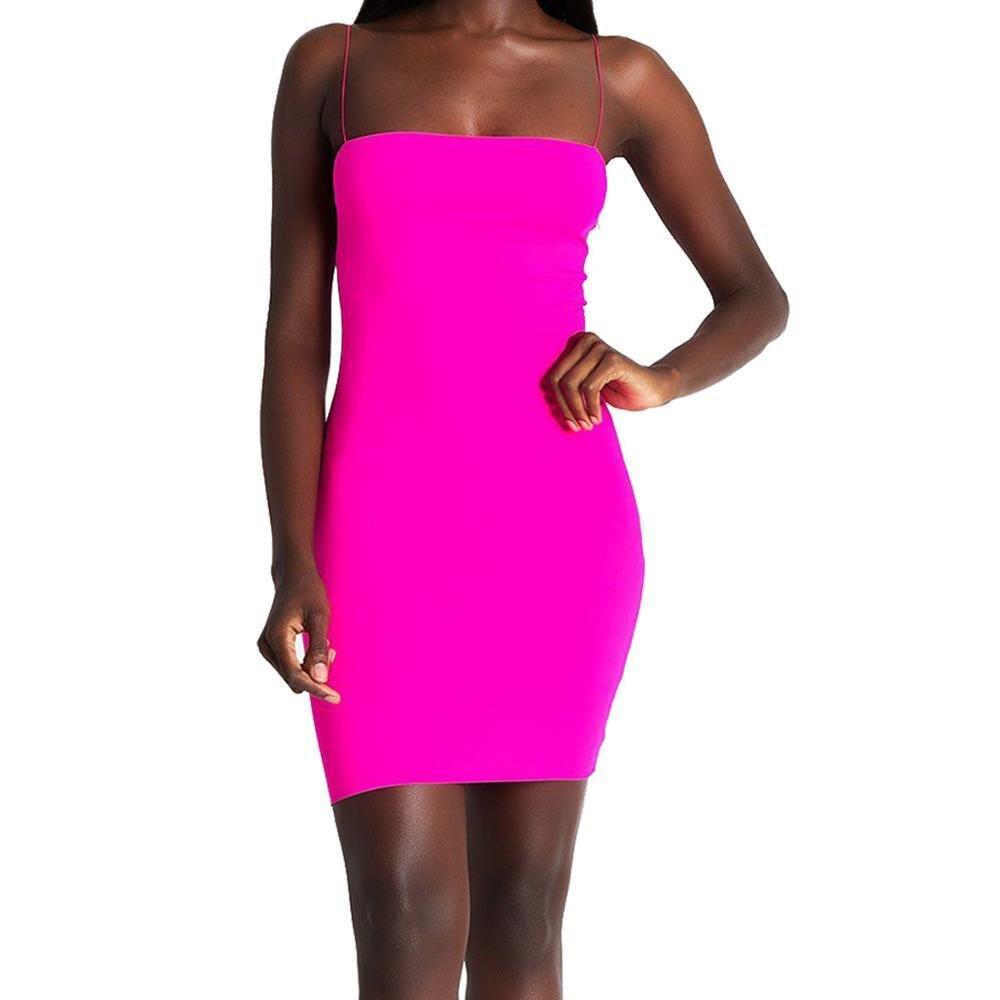 Новинка, горячее предложение, женские летние одноцветные Сексуальные облегающие Мини платья, вечернее платье без рукавов, Клубная одежда, облегающее платье - Цвет: Rose Red