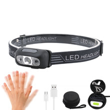 12000Lm Mini Rechargeable LED Headlamp Body Motion Sensor Headlight Camping Flashlight Head Light Torch Lamp With USB цена