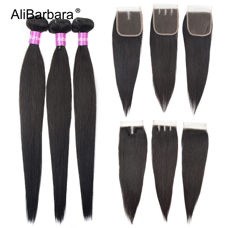 AliBarbara Non-Remy Straight Human Hair Bundles With Closure Brazilian Hair Weave Extension Black Lace Closure With Bundle Hair