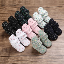 Cotton Print Newborn Baby Socks Shoes Boy Girl Toddler First Walkers Booties Cotton Soft Anti-slip Warm Infant Crib Shoes