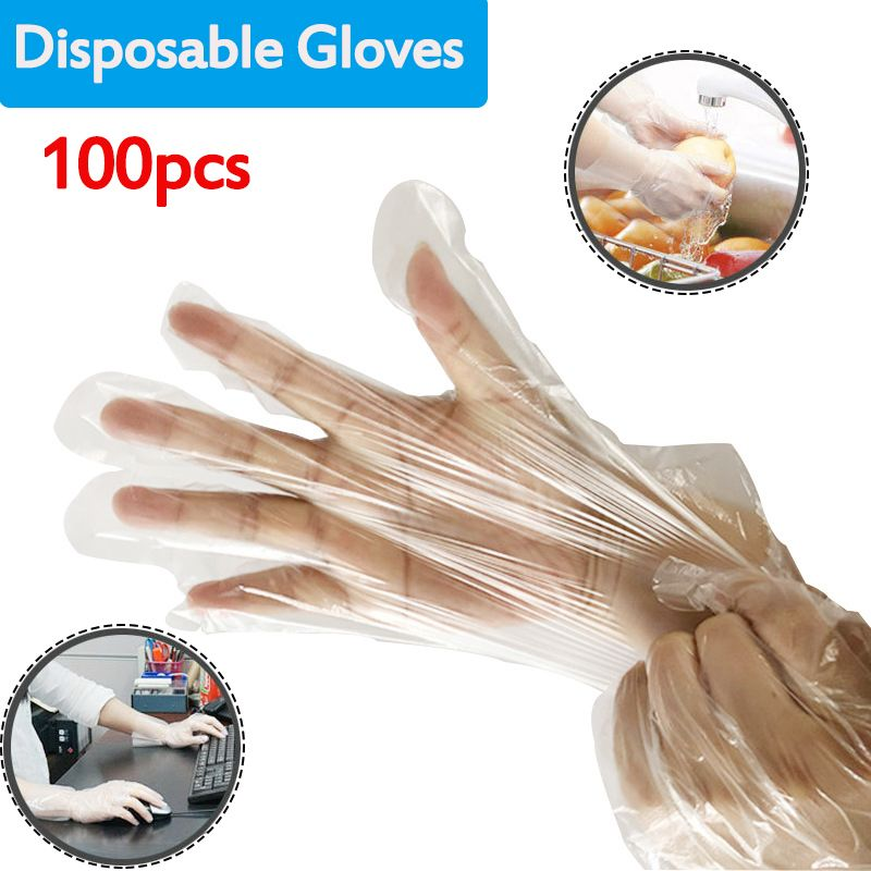 100Pcs Thicken PE Disposable Gloves Universal Industrial/Work/Restaurant/Garden /Kitchen/Cleaning Gloves for Left and Right Hand image