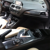 Dla BMW serii 1 F20 2012 2016 wnętrze centralny panel sterowania klamka 5D naklejki z włókna węglowego naklejki Car styling Accessorie w Naklejki samochodowe od Samochody i motocykle na