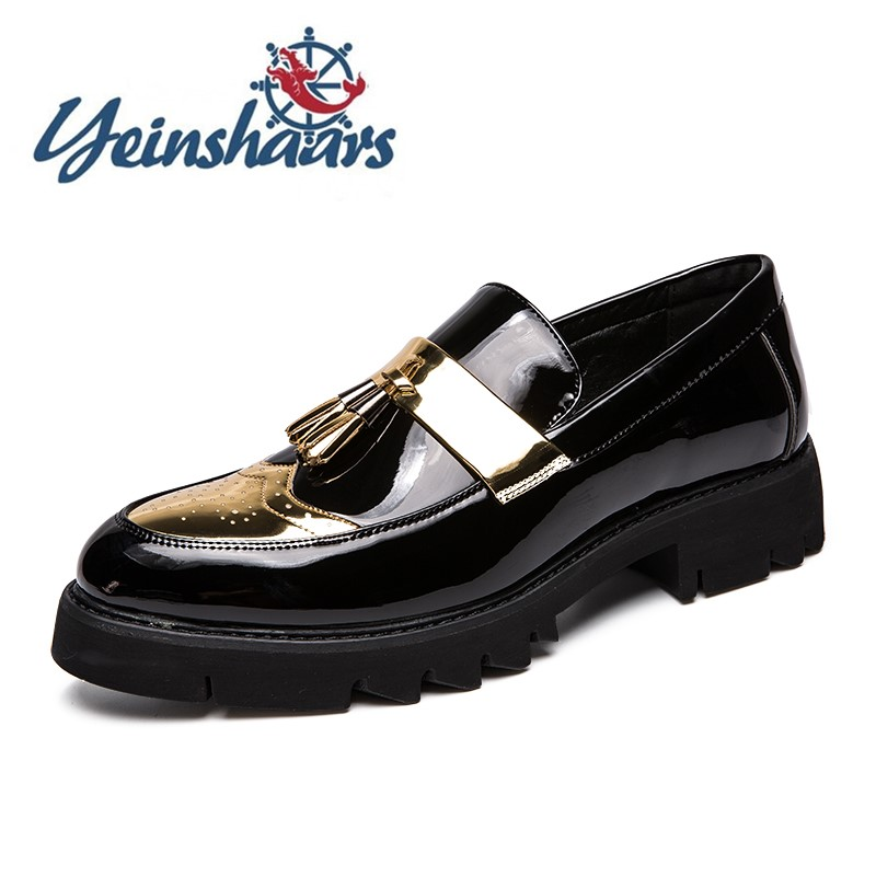 Mens Shoes Casual PU Leather Loafers Stylish Business Wedding Shoes Tassel Platform Shoes Male Comfortable Four Seasons Shoes
