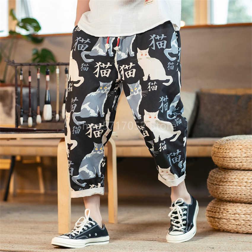 Pantalones Estilo Japones Vintage Para Hombre Pantalon Con Estampado Bonito Kimono Gato Samurai Haori Haram Harajuku Ropa Asiatica Yukata Ropa De Asia Y Las Islas Del Pacifico Aliexpress