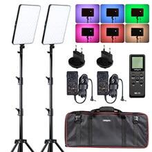Weeylite sprite40 2 pacote kit de luz vídeo rgb led painel luz vídeo 2.4g remoto sem fio para gravação vídeo estúdio fotografia