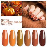 MIZHSE Gel Lack Nagellack 7ML Kürbis Serie Nagel Gel Reine Farbe Tränken Weg Vom Semi Permanant UV Nail art für Halloween