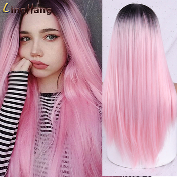 Ling Hang Ombre Green Straight Long Synthetic Wigs For Women Black Pink 22 Inch Can Be Cosplay - discount item  45% OFF Synthetic Hair