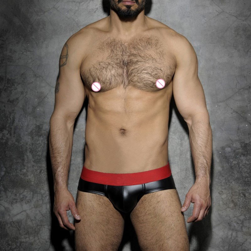 2019 <font><b>Sexy</b></font> Mini <font><b>Men</b></font> Briefs Underwear Black Imitation Leather <font><b>Men's</b></font> Panties Gay <font><b>Men</b></font> <font><b>Bikini</b></font> Brief image