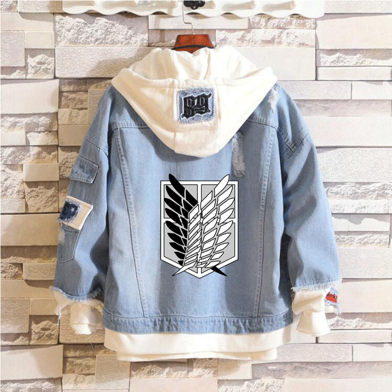 New Attack on Titan Denim Jacket Jeans Hoodie Sweatshirt Anime Eren Jaeger Levi Titans Attack Clothing Men Women Jacket Hoody