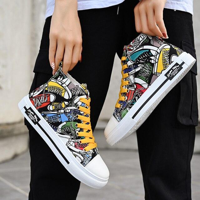 Zapatillas de deporte clásicas para hombre, zapatos de skateboard para parejas, transpirables, con cordones, informales, a la moda, con grafiti 4