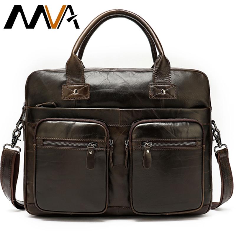 MVA Business Men's Briefcases Computer Bag Messenger Bag Men Shoulder Bags Genuine Leather Document Bags For Men Laptop Handbags