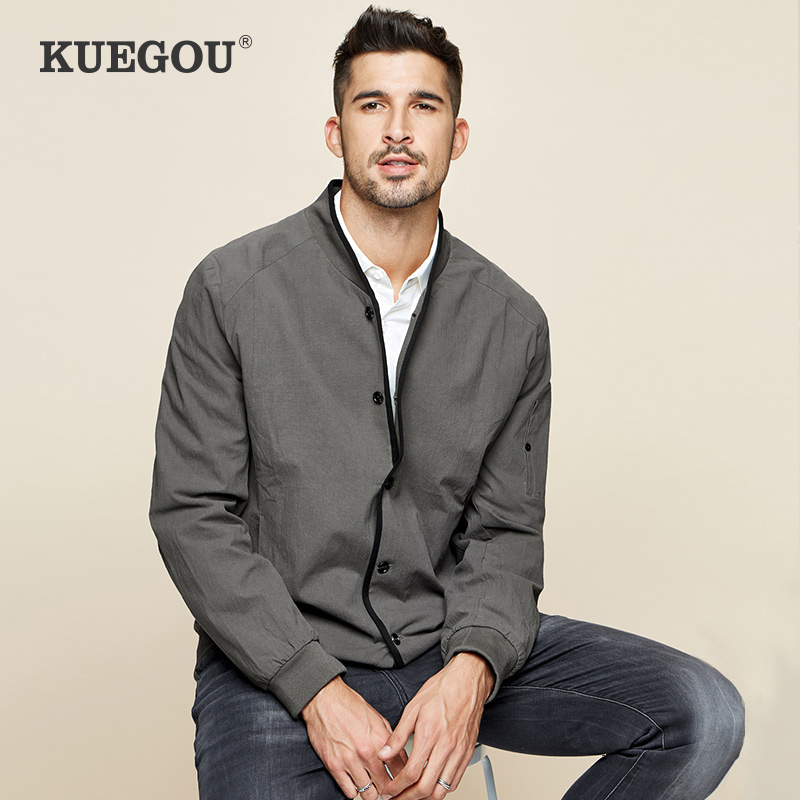 KUEGOU Brand Winter Men's Jacket  Pure Color Movement Style   Cultivate One's Morality Fashion Baseball Grey Coat  UW-08923