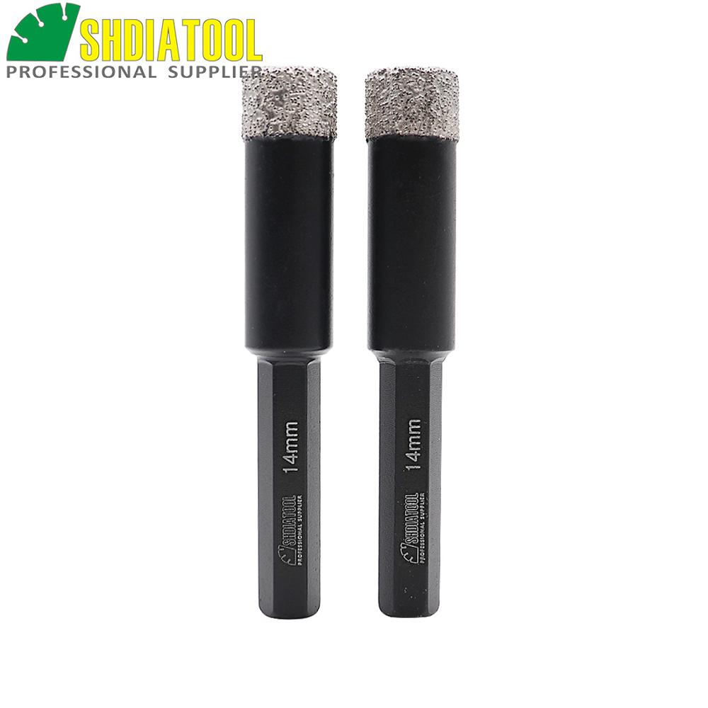 SHDIATOOL 2pcs 14mm Hex Shank Vacuum Brez Diamond Core Bits Bits حفاری خشک بیت های با کیفیت حرفه ای