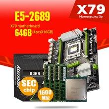Atermiter X79 터보 마더 보드 LGA2011 ATX 콤보 E5 2689 CPU 4pcs x 16GB = 64GB DDR3 RAM 1600Mhz PC3 12800R PCI E NVME M.2 SSD