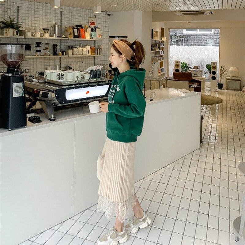 Women Hoodie Winter Green Letter Printed Hoodie Sweatshirt Women Warm Velvet Rhinestone Hooded