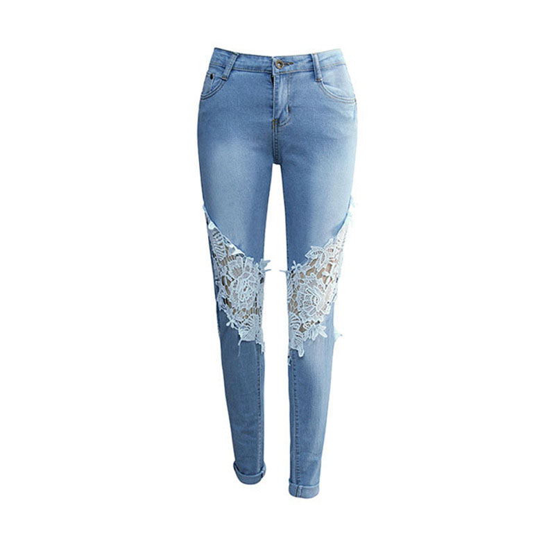 Women Fashion Lace Hole Jeans Hollow Out Skinny Denim Jeans Woman Pencil Pants Patchwork Trousers For Women Jeans
