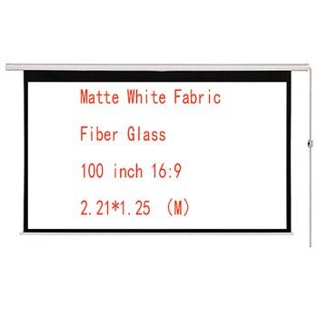 Thinyou 100 polegadas 16 9 tela motorizada elétrica da cortina de vidro da fibra da tela branca matte com controle remoto para cima para baixo para o escritório em casa