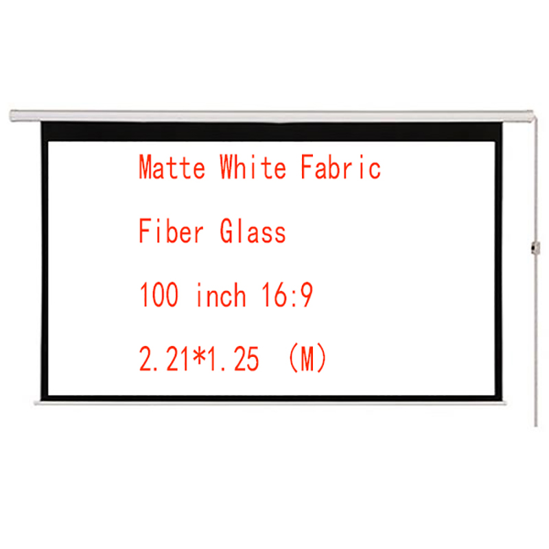 Thinyou 100inch 16:9Matte White Fabric Fiber Glass Curtain Electric Motorized Screen With Remote Control Up Down for Home Office
