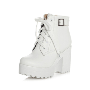 Image 1 - Autumn Winter Martin Boots Boots Women Round Toe Buckle Shoes Women High Heel Fashion Plus Size Square Heels Lacing 3 Colors