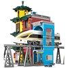 Pomysły 2942 szt. Ruch miejski stacja kolejowa podwyższona kolejowa ulica Scape zestaw klocków Model techniczny DIY zabawki dla dzieci prezenty