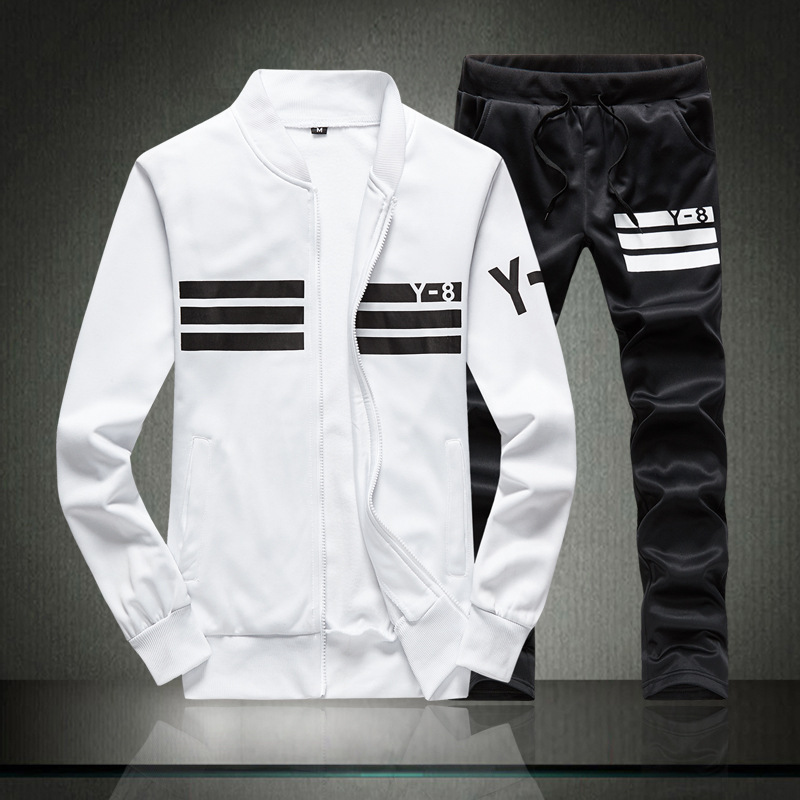 New Style Leisure Sports Suit Men Carry Article Fitness Suit Cardigan Coat Autumn Jogging Suits Two-Piece Set