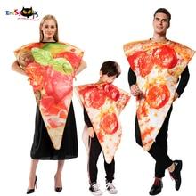 Erashioky 2019 engraçado comida pizza cosplay carnaval festa traje para adultos mulheres crianças casal halloween família fantasia vestido