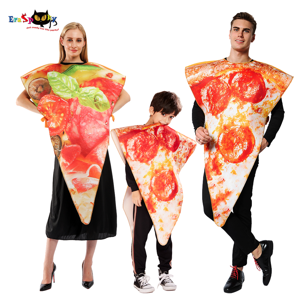 Eraspooky 2019 Funny Food Pizza Cosplay Carnival Party Costume For Adult Women Kids Couple Halloween Family Fancy Dress