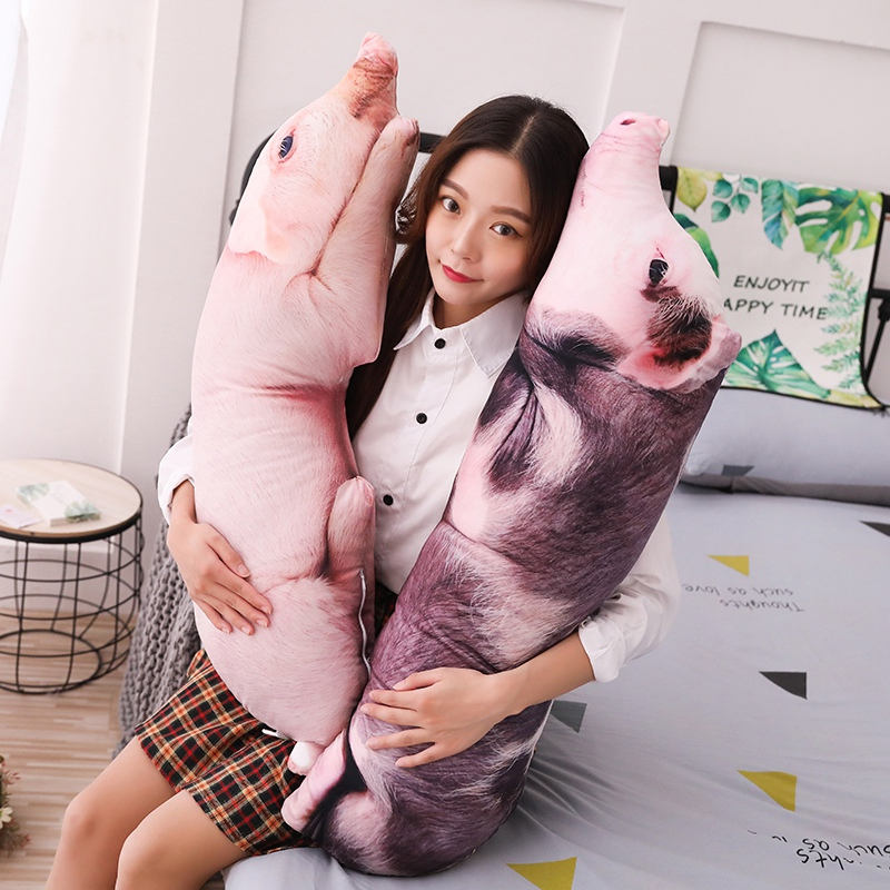 50-120cm Simulated Sleeping Pig Plush Pillow Animals Stuffed Pillows Kids Adults Pets Bolster Sofa Chair Decor Friend Gift
