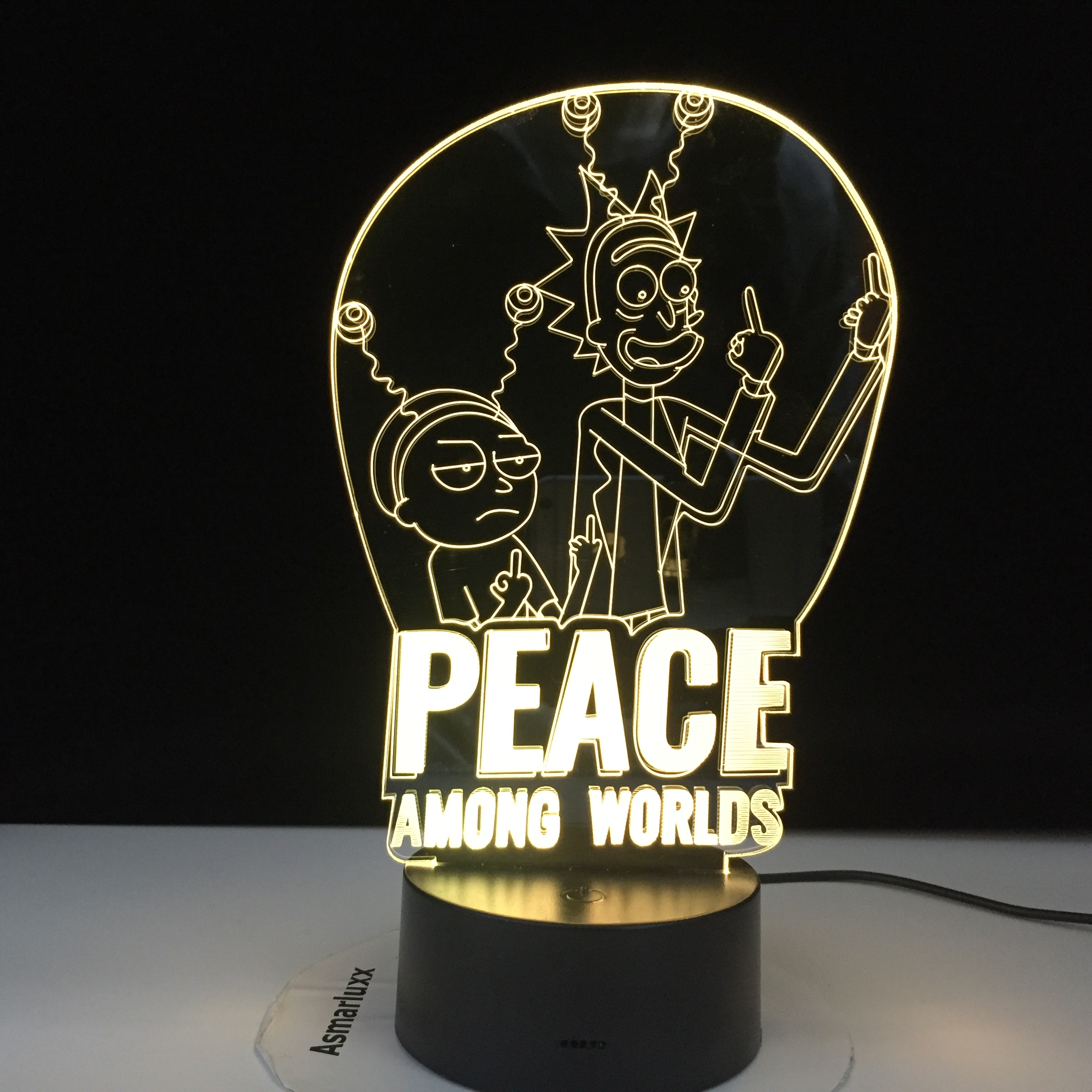 Peace Among Worlds Rick & Morty Lamp Kids Nightlight For Bedroom Decoration Touch Sensor Color Changing 3d Led Night Light