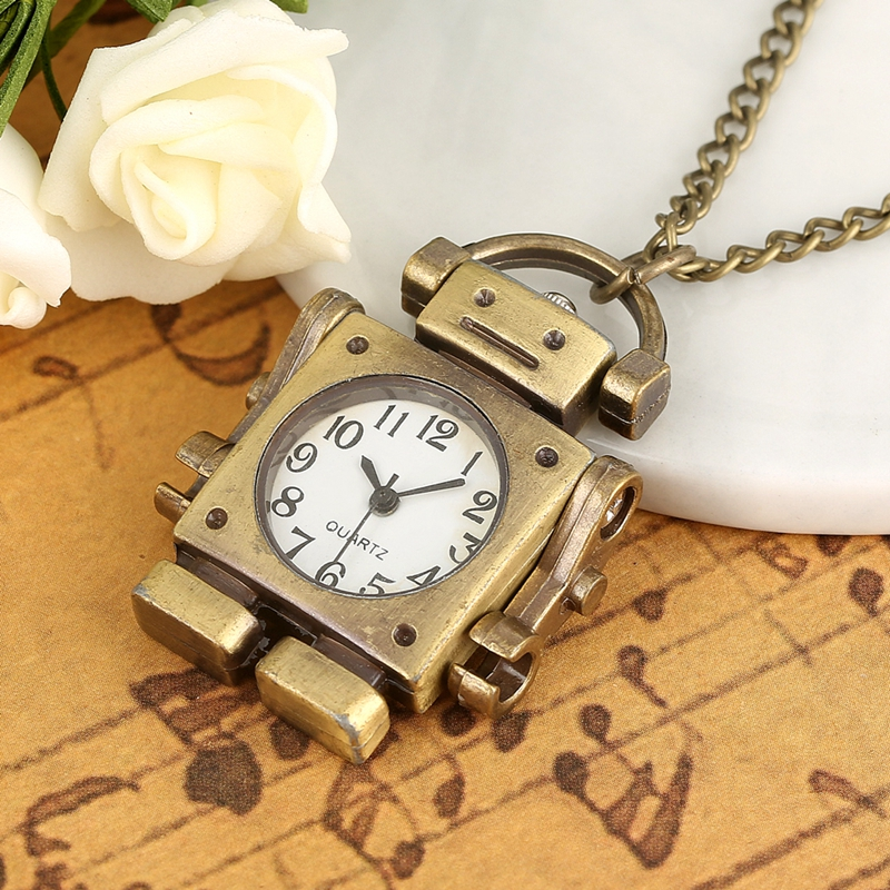 Robot Shape Quartz Pocket Watch Creative Open Face Square Dial With Arabic Numerals Pendant Necklace Watch Toys For Boys Girls