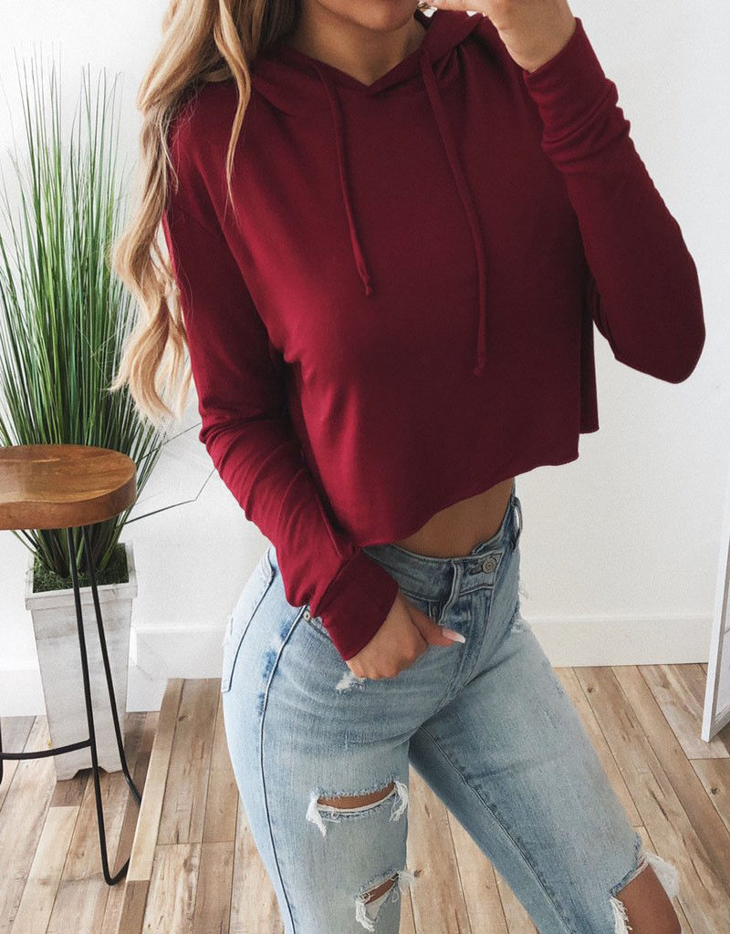 Retro Women Hoodies Sexy Over Plain Chain Crop Top Hooded Pullover Hoody Jumper Cosplay Tops Plus Size Casual Sweatshirts Hot