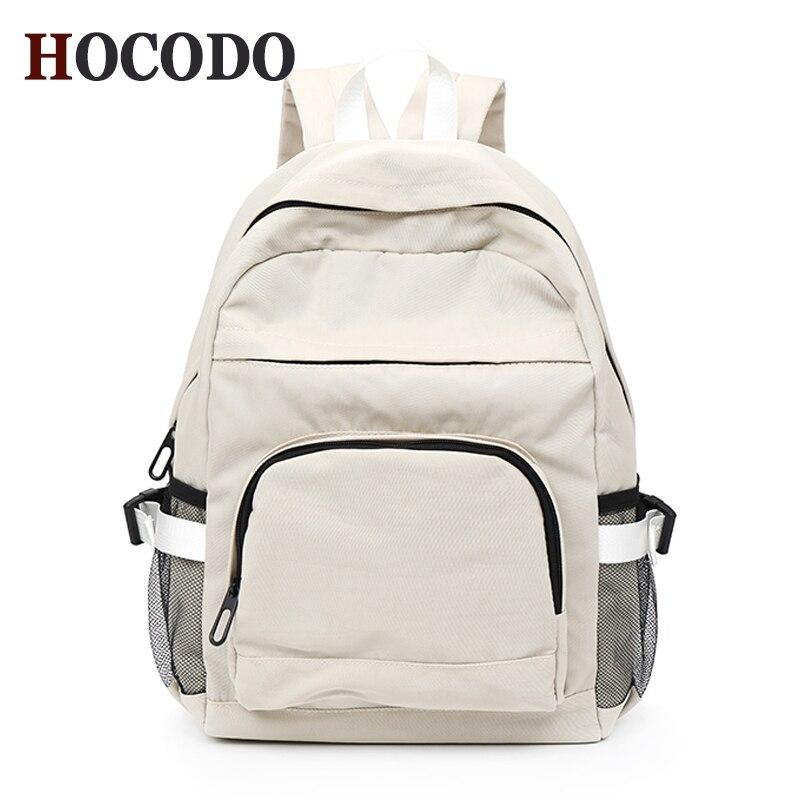 HOCODO Women Backpack Canvas Rucksack Solid Color Travel Backpack For Teen Schoolbags Multi-Pocket Shoulder Bag Mochilas Bookbag