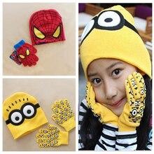 Autumn Winter Girls Boys Hat Set Cartoon Spiderman Warm Cap knitted Hat Gloves Children Hat Sets DS19