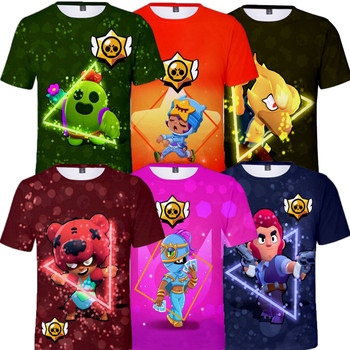 Leon odzież dziecięca koszulka dziecięca koszulka 3d Brawler Hero Stars chłopcy dziewczęta Harajuku koszulka z krótkim rękawem Tshirt Teen Clothes tanie i dobre opinie BRAWL STARS CN (pochodzenie) 25-36m 4-6y 7-12y 12 + y POLIESTER Stars Game 1 - 3cm Teenagers Kids T-shirt Gaming Cosplay