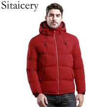 Sitaicery Men Winter Padded Coat Down Jacket 4 Color Zipper Hooded Outerwear Windproof Casual Red Sport Coats