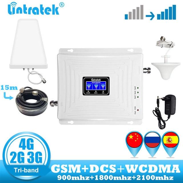 Lintratek משחזר 2g 3g 4g מגבר אות GSM Tri Band 900 DCS 1800 WCDMA 2100 טלפון סלולרי סלולארי אות Booster מגברמגברי אות