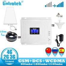 Wzmacniacz sygnału lintratek 2g 3g 4g wzmacniacz sygnału GSM tri band 900 DCS 1800 WCDMA 2100 wzmacniacz sygnału komórkowego wzmacniacz
