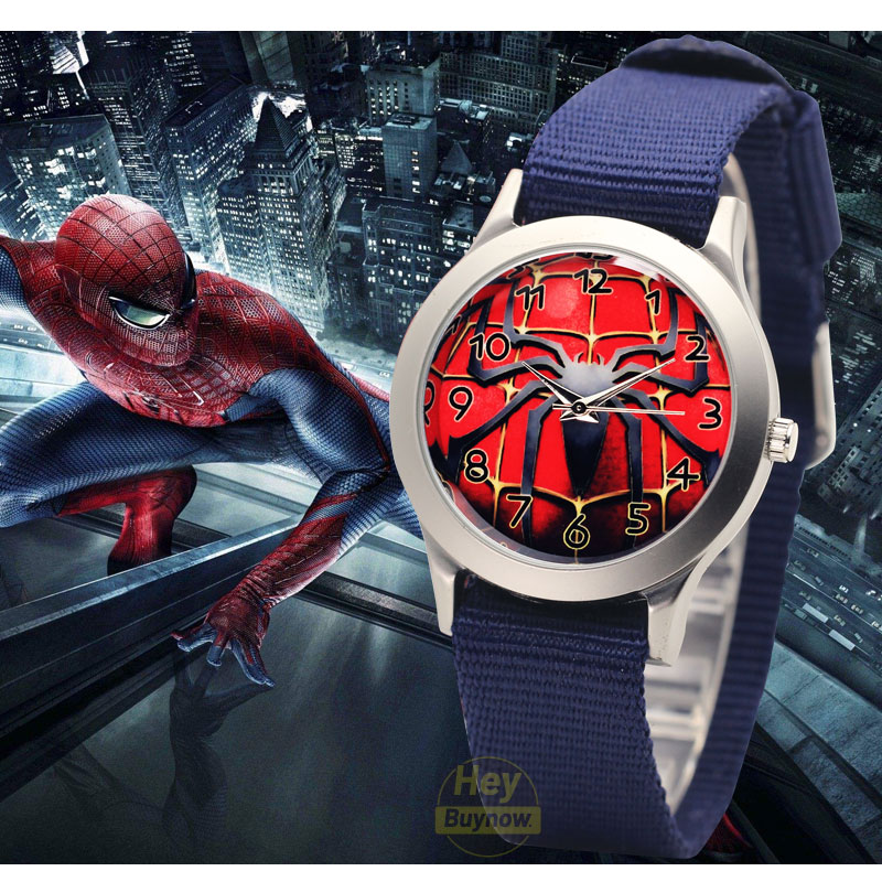 Children's Watches Canvas Arabic Digital Dial Spiderman Kids Quartz Watches Luminous Cartoon Girl Boys Watch Birthday Party Gift