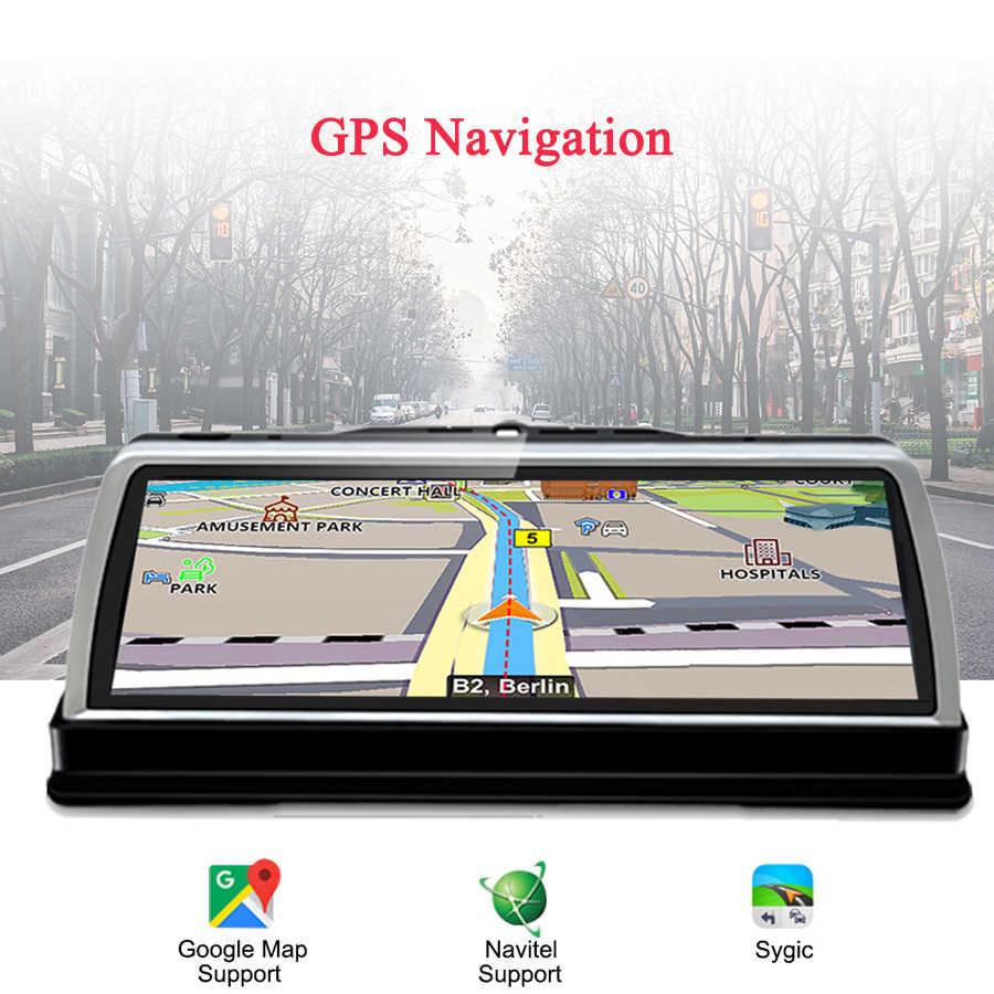 """WHEXUNE 2019 nuevo 4 Channel Android 5,1 WIFI coche DVR Cámara 4G 10 """"IPS ADAS navegación GPS cámara de salpicadero 1080P HD completo grabador de vídeo"""