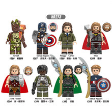 X0273 blocs de construction Super héros briques Groot Captain America Carter Thor Jane Monica Figures pour enfants modèle jouets(China)