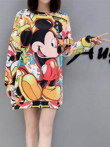 Fashion Sweatshirt Large-Size Women's Cartoon Spring Autumn Cute Mid-Length Casual Coat