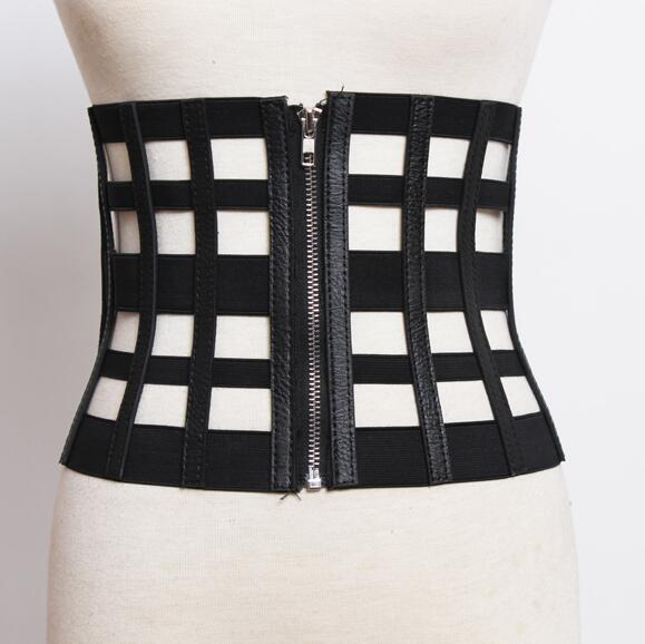 Women's Runway Fashion Hollow Out Leather Cummerbunds Female Dress Coat Corsets Waistband Belts Decoration Wide Belt R1804