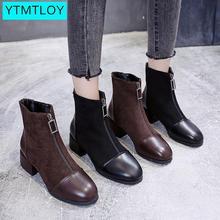 2020 Black Brown Western Ankle Boots Women PU Leather High Heel Booties Heels Sh