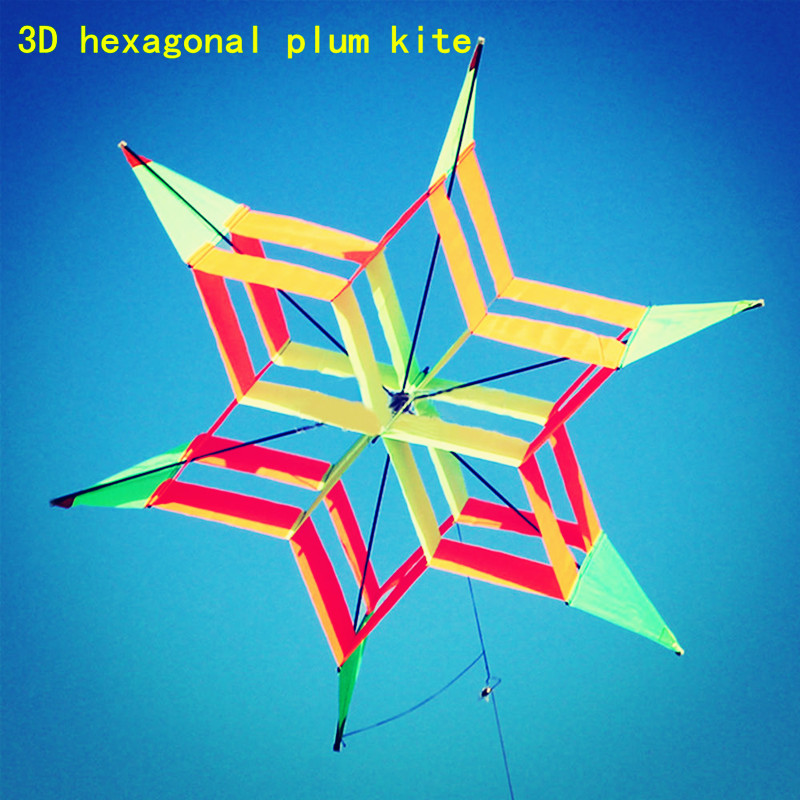 100m3D Colorful Hexagon Plum Flower Kite FRP Single Line Flying Kite Outdoor Fun Sport Kids Toy Easy Fly  Single Line Kites