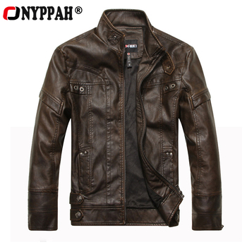 ONYPPAH New Motorcycle PU Leather Jacket Men Autumn Winter Thick Fleece Stand Collar Zipper Casual Man PU Jacket Clothing