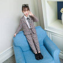 цены Teenage Girls Blazer Suit for Kids Fashion Plaid Jackets + Pants School Uniform Girls Clothes Children Tuxedo Clothes Suit Set