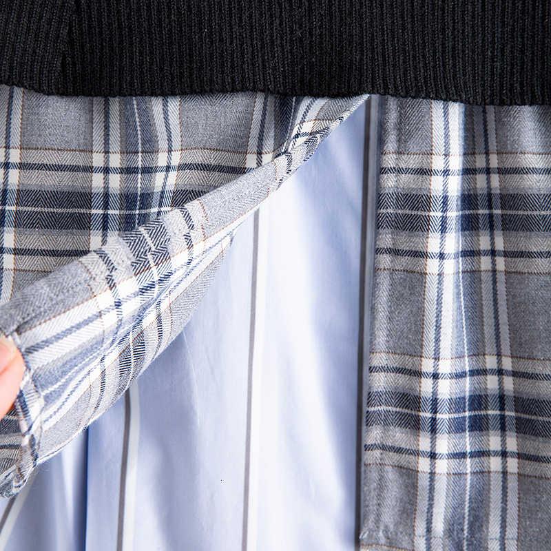 [EAM] Hohe Elastische Taille Rüschen Schwarz Plaid Split Temperament Halb-körper Rock Frauen Mode Flut Neue Frühling herbst 2020 1N040