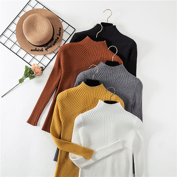 Winter Turtleneck Sweater Women Pullover High Elasticity Slim Sweater Women Pullover Autumn Top 2020 Long Sleeve Womens Sweater bow knitted pullovers autumn winter women sweater jumper pullover sleeve long 2020 high elasticity fall sweater women pullover