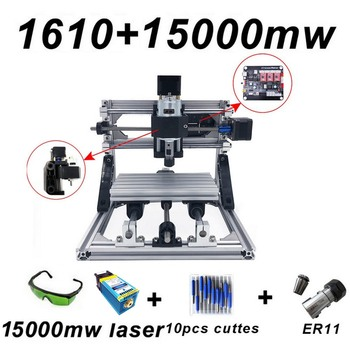 15W CNC1610 Laser Engraving Machine Blue Laser 500mw 1500mw 5500mw 15000mw Wood Router PCB Metal Wood Carving Machine DIY Letter 15w engraving machine cnc3018 pro er11 with 500mw 2500mw 5500mw head wood router pcb milling machine wood carving machine diy